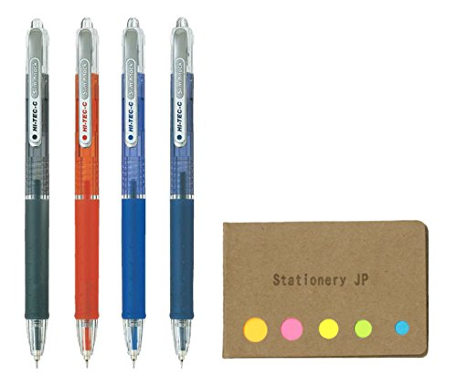 Pilot Hi-Tec-C SlimKnock 04 Retractable Gel Ink Pen, Ultra Fine Point 0.4mm, 4 Colors, Sticky Notes Value Set