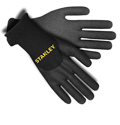 Stanley S68991 Thermal 2-Ply Terry Glove with 3/4 Dip Nitrile Coating, Black