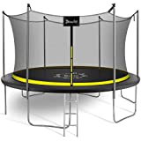 8FT 10FT 12FT 15FT Trampoline with Enclosure Net and Ladder, Doufit Outdoor Recreational Trampoline for Kids and Adults, ASTM Approved Safety Backyard Jump Foot Trampoline with Wind Stakes
