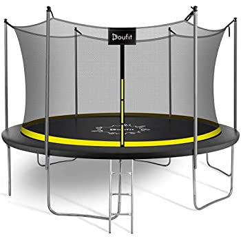 8FT 10FT 12FT 15FT Trampoline with Enclosure Net and Ladder Doufit TR-06 ASTM Approved Safety Outdoor Backyard Jump Recreational Trampoline for Kids Adults Family with Wind Stakes