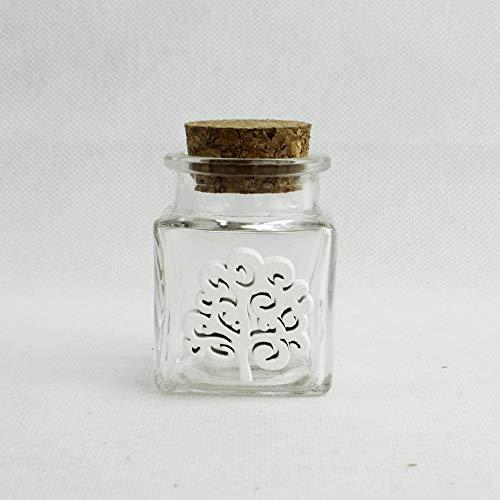 DLM27021 (Kit 12 Pezzi) Barattolo in Vetro con Albero della Vita in Legno Bianco Porta Confetti Spezie bomboniera