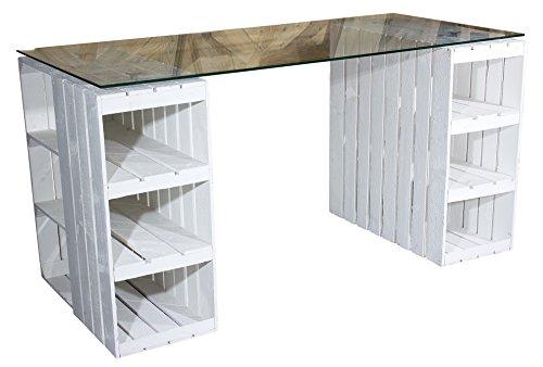 Vinterior Shabby Chic Schreibtisch aus neuen Holzkisten/Obstkisten/Apfelkisten in Weiss inkl. klarer Glasplatte Maße:150x70x66cm