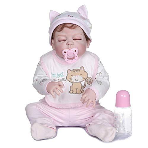 Reborn Dolls Realistic 50cm 20 Inch Sleeping Girls Boys Dolls Bebés de Aspecto Real Los recién Nacidos parecen Reales cumpleaños Favoritos de los niños pequeños (55cm Pink Cat)