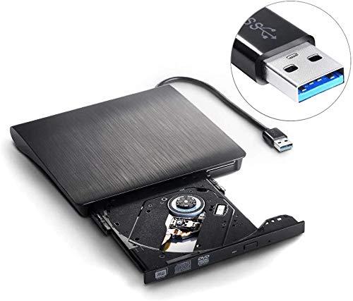 SALCAR Externes CD DVD Laufwerk, DVD/CD Brenner USB 3.0 Ultra Slim Portable CD DVD-RW für Laptops und Desktops unterstützt Windows XP/2003/Vista/7/8/10, Mac OS, Schwarz