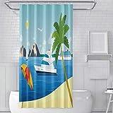 leyhjai Cortina de Ducha con Ganchos Velero Yate Crucero Ocean Beach Paisaje Cortinas de baño Decoración de baño 60 x 72 Pulgadas