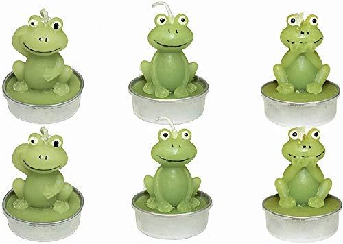 Yeelua Juego de 6 velas de té sin humo hechas a mano con formas de rana delicadas, para animales, perfectas para fiestas de cumpleaños, festivales, bodas, spa, decoración del hogar