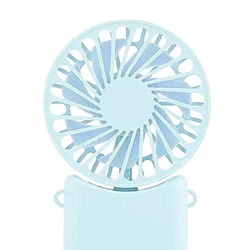QINX Cuello colgante plegable pequeño ventilador eléctrico portátil creativo estudiante dormitorio deporte exterior mini ventilador azul