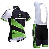 ZHLCYCL Traje Ciclismo Hombre, Maillot Ciclismo y Culotte Ciclismo con 5D Gel Pad para Verano Deportes al Aire Libre Ciclo Bicicleta, MER-White, XL