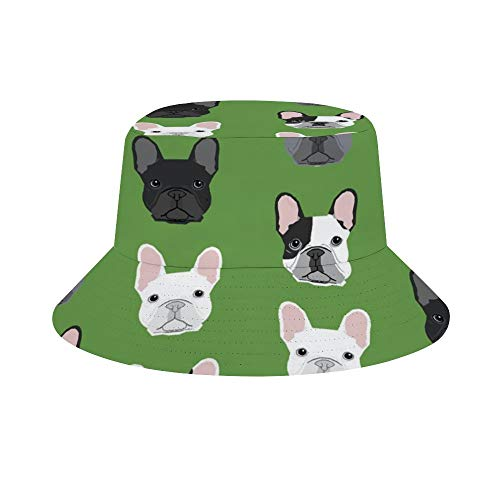 Women Men Boys Girls Breathable Green Frenchie Dog Bucket Hat Summer UPF 50+ Sun Protection Boonie Cap Packable Fisherman Hat