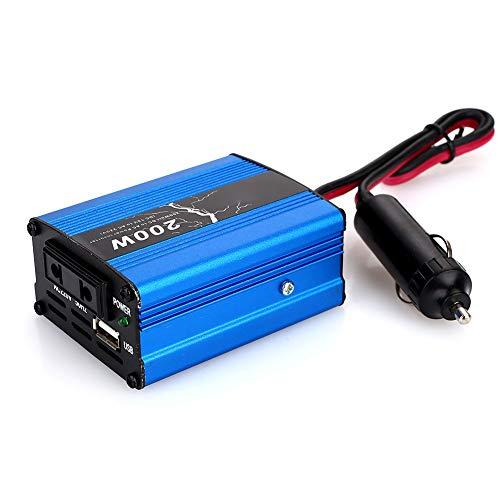 Rosepoem Inversor de energía Solar de 100W / 200W DC 12V a 220V AC, Adaptador de Cargador para convertidor de Corriente para automóvil con Salida de CA Interfaz USB y Encendedor de Cigarrillos