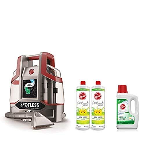Hoover FH11300PC Spotless Portable Carpet & Upholstery Spot Cleaner, Red & Deep Cleaning Carpet Machine Cleaner, 64 oz, White & Scent Booster for Carpet Cleaner Machines, 16 oz, Pack of 2, White
