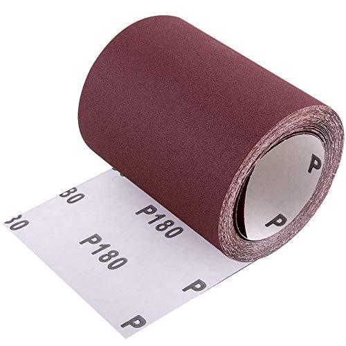 SIQUK Sandpaper Roll 5m x 93mm Aluminum Oxide Sanding Paper for Automotive and Woodwork, 180 Grit
