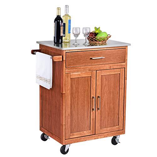 COSTWAY Küchenwagen mit Schublade, Kücheninsel mit Handtuchhalter, Küchenschrank rollbar, Servierwagen aus Holz, Kücheninselwagen, Mikrowellenwagen, Sideboard naturholz