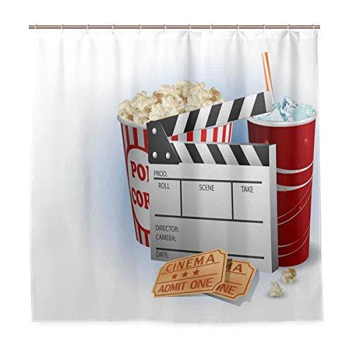BEITUOLA Cortina Baño,Boletos de refresco Palomitas de maíz Frescas y Tablero de chapaleta Blockbuster Premiere Cinema,Baño Lavable a Prueba de Agua,180x180cm Cortina de Ducha con 12 Ganchos