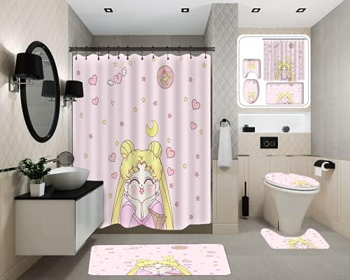 Sailor Moon Duschvorhang-Set mit rutschfesten Teppichen, WC-Deckelbezug und Badvorleger, Duschvorhang mit 12 Haken, wasserdichter Stofftuch Polyester Badvorhang, Badewannenvorhänge