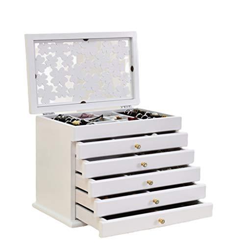 EPOU Scatola di Gioielli Jewelry Box Classico Intagliato Tung Legno di Sei Strati di Grande capacità Jewelry Box Forma del Regalo Elegante Contenitore Organizer jewlwey