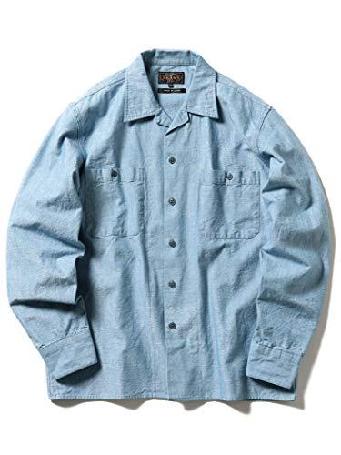 (ビームス)BEAMS/カジュアルシャツ PLUS シャンブレー ミリタリー オープンカラーシャツ メンズ SAX XL