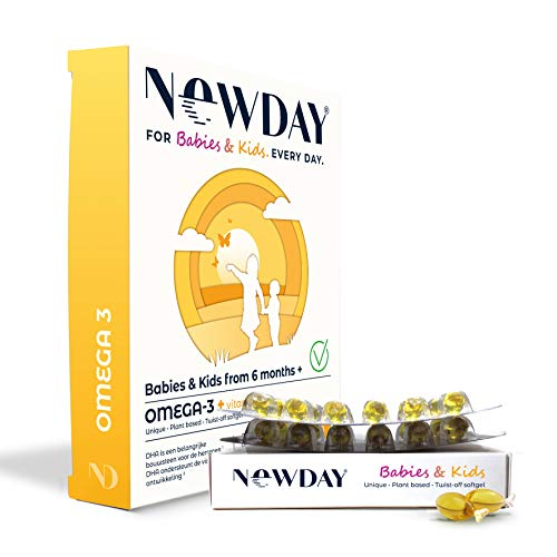 NewDay Babies & Kids | Vegan Omega-3 Capsules for Infants & Children | Healthy Brain & Eyes Vitamins | High Dose Omega-3 Supplements | Vitamin D3 & Algae Oil | Easy Digestion | 48 Twist-Off Caps