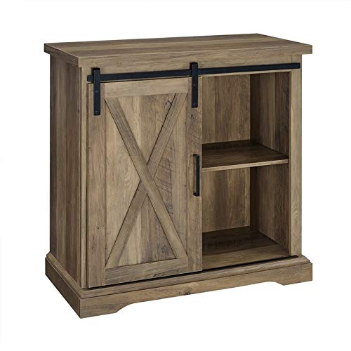 Pemberly Row 32' Farmhouse Sliding Barn Door Wood Accent Chest Home Coffee Station Buffet Storage Cabinet in Rustic Oak