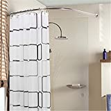 Satisfounder Curved Shower Rod Rustproof Aluminum Alloy Wall Mount Corner Bathroom Shower Curtain Rod Covers Wall Area of 35 to 35 Inches, Arc Radius 16 Inches (Silver)