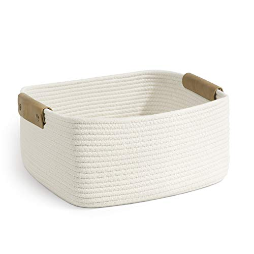 CHICVITA Rectangle Cotton Rope Woven Basket with Handles for Books, Magazines, Toys - Decorative Rectangle Basket for Baby Nursery, Living Room, Bathroom