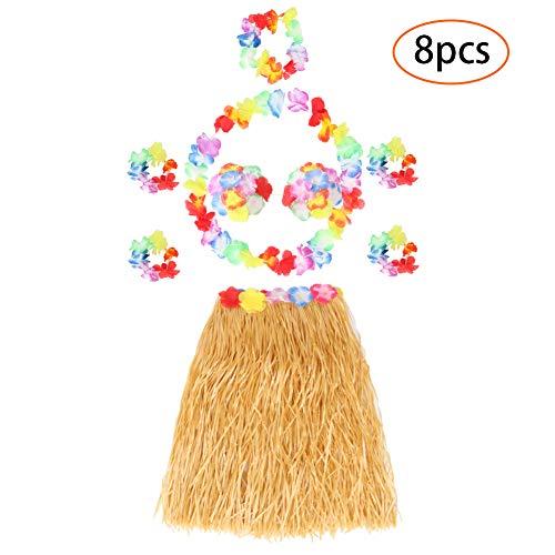 Twister.CK Hula Grass Skirt Hawaiian Lei Blumengirlande, Luau Grass and Hawaiian Flower Bracelets for Party Favors (8 Pcs)