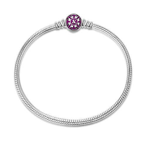 NinaQueen 925 Sterling Silver Snake Chain Bracelet with Purple Clasp Charms 7.0 Inches Fit Pandöra Bracelet Charms Christmas Gifts for Women Birthday Anniversary Gifts for Her Wife Mom Teen Girls
