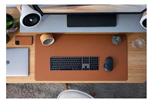 JT Berlin Leder Schreibtischunterlage XL für Büro und zu Hause in cognac - [800x400mm, Rutschfest, Echtes Rindsleder, Velour-Unterseite, Handarbeit] - 10569
