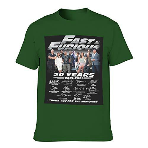 Men's Fast The Furious Cotton T Shirt - Round Collar Top Wear Dark green001 5XL