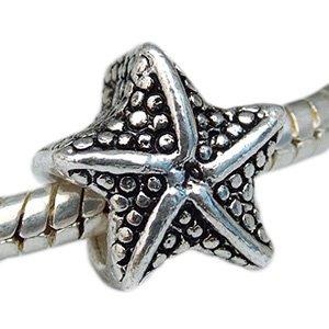 Andante-Stones Silber Bead Seestern Antique - Element Kugel für European Beads Modul Armband + Organzasäckchen