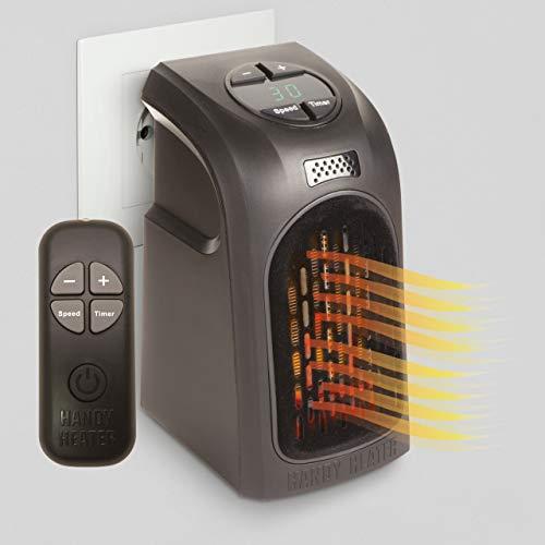 LIVINGTON Handy Heater 500 Watt mit Fernbedienung   Keramik Heizlüfter   Mini-Steckdosen-Heizer   Schnellheizung   Thermostat 15°C - 32°C   Timer   Elektro-Heizung   Das Original aus dem TV
