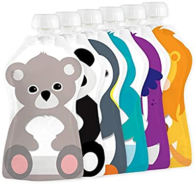 Squooshi Reusable Food Pouches | Baby Food Storage | 6 Small 3.4 oz Pouches