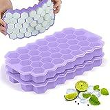 Taisei Paquete de 2 bandejas de cubitos de hielo de silicona con forma de panal de abeja, moldes con tapas para whisky, cóctel, apilables, flexibles, de grado alimenticio sin BPA (color púrpura)