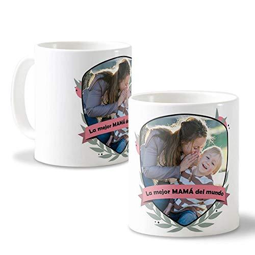 Getsingular Tazas con Fotos para mamá | Una Taza Original para el Día de la Madre o Cualquier Fecha Especial | Tazas de cerámica Blanca Frase La Mejor Mama del Mundo