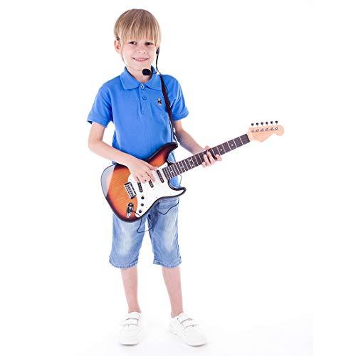 MRKE Guitarra Electrica Niños con Microfono Amplificador 66cm 6 Cuerdas Rock Juguete...