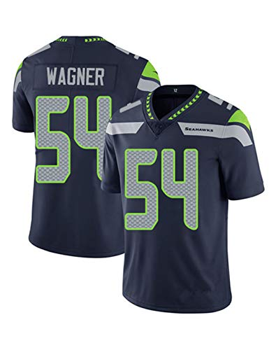 KHHK Männer Fußballtrikot Seattle Seahawks 24 Lynch 3 Wilson 12 Fan 16 Lockett 54 Wagner Outdoor Sport Sweatshirt