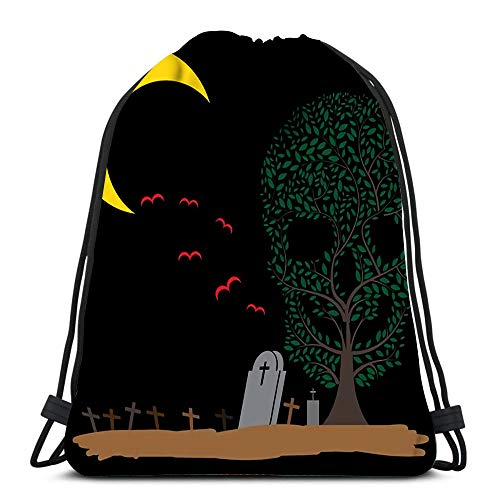 Kkyoxdiy Drawstring Bags Skull Tree Moon Graves Beach Rucksack