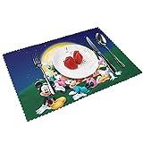 Mantel individual Mickey Mouse Minnie de arpillera, 4 piezas, resistente, antideslizante, resistente...