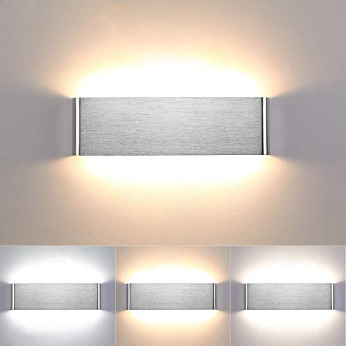 Lightess Regulable Apliques de Pared LED 16W 31CM Lámpara de Pared Interior Luz Moderna Agradable Luz de Aluminio Iluminación para Salón, Dormitorio, Sala, Pasillo, Escalera, Plata