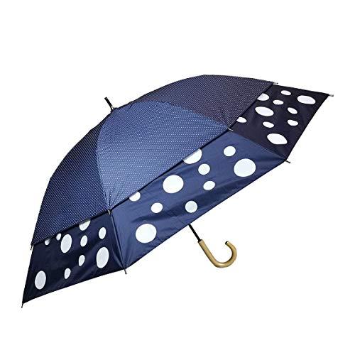 世界初 トランスフォーム傘 裾が大きく広がる傘 風の抜ける傘 日傘 晴雨兼用 レディース 紺生地 白ドット×紺生地 白ドットプリント 親骨45cm→60cm 27018