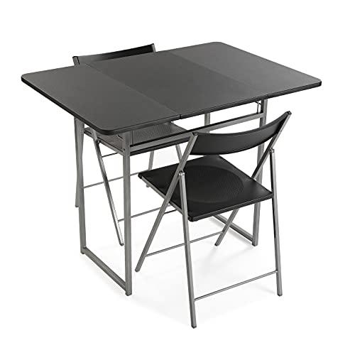 Versa Andrea - Set da 3 pezzi, per cucina, terrazza, giardino, balcone o sala da pranzo, tavolo e sedie, dimensioni (A x L x P): 80 x 70 x 100 cm, metallo e PVC, colore: nero
