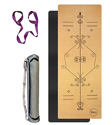 Esterilla de yoga de corcho antideslizante, 183 cm x 61 cm + 5 mm TPE, solo 900 g, con correa de transporte y bolsa de transporte