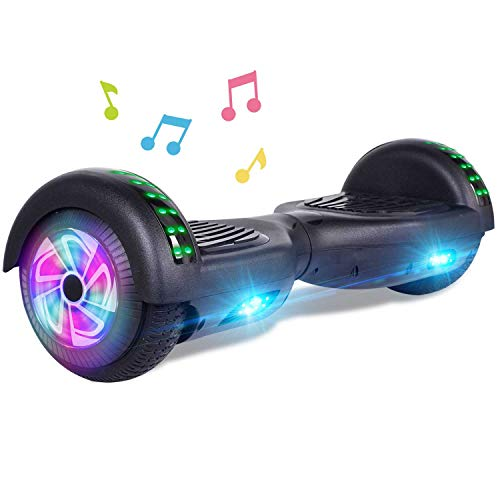 CBD Bluetooth Hoverboard for Kids, 6.5 Inch Two Wheel Hoverboard, Self Balancing Hoverboard with Bluetooth and LED Lights(A-Black)