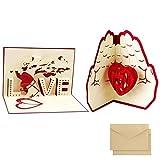 2pcsTarjeta para San Valentín,, hermoso corte de papel, 3D Pop-Up Tarjeta de Felicitación, para cumpleaño día de la madreboda día de San Valentín . (LOVE & Love en forma de palmera)