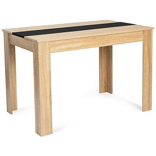 IDMarket - Table à Manger ROZY 4 Personnes Imitation hêtre et Noire 110 cm