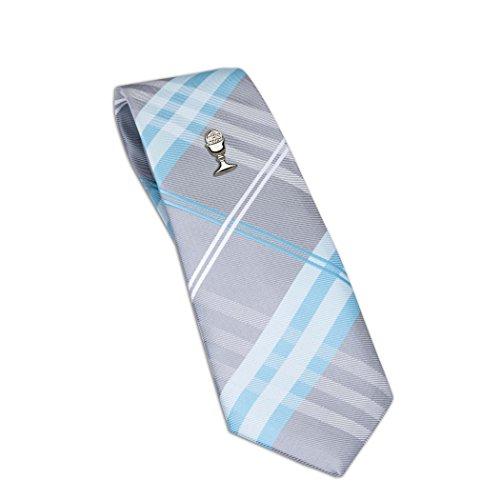 Boys First Communion Tie Aqua Plaid and Silver-Tone Chalice Tie Pin, 45-inch
