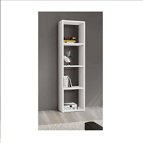 InHouse srls Bibliothèque Blanc Pore Ouvert, Style Moderne, en MDF laminé - Dim. 46 x 30 x 175