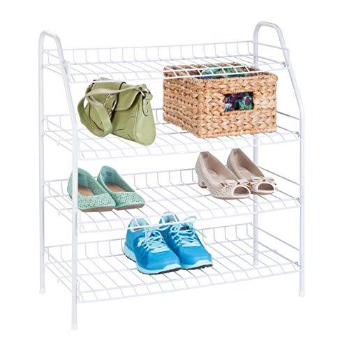 Honey-Can-Do SHO-05269 4-Tier Wire Shoe Shelf Rack, 25.75 x 11.63 x 27.88, White