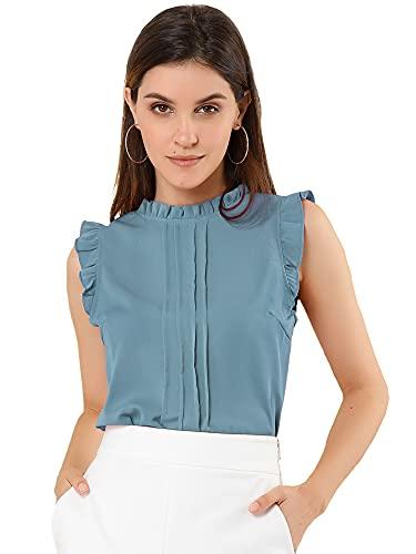 Allegra K Damen Ärmellos Rundhals Panel Ruffle Top Bluse Blau grau M