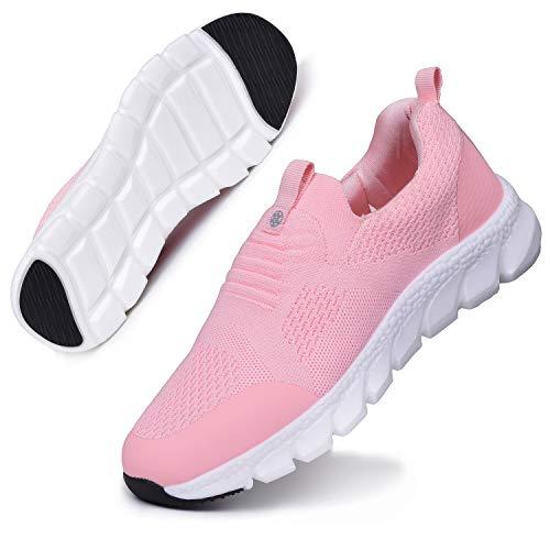 Zapatillas Deportivas Mujer Zapatos Deporte Gimnasio Cómodos Zapatillas de Running Ligero Fitness Zapatos de Trabajo Zapatillas Casual Sneakers Rosa D 38EU